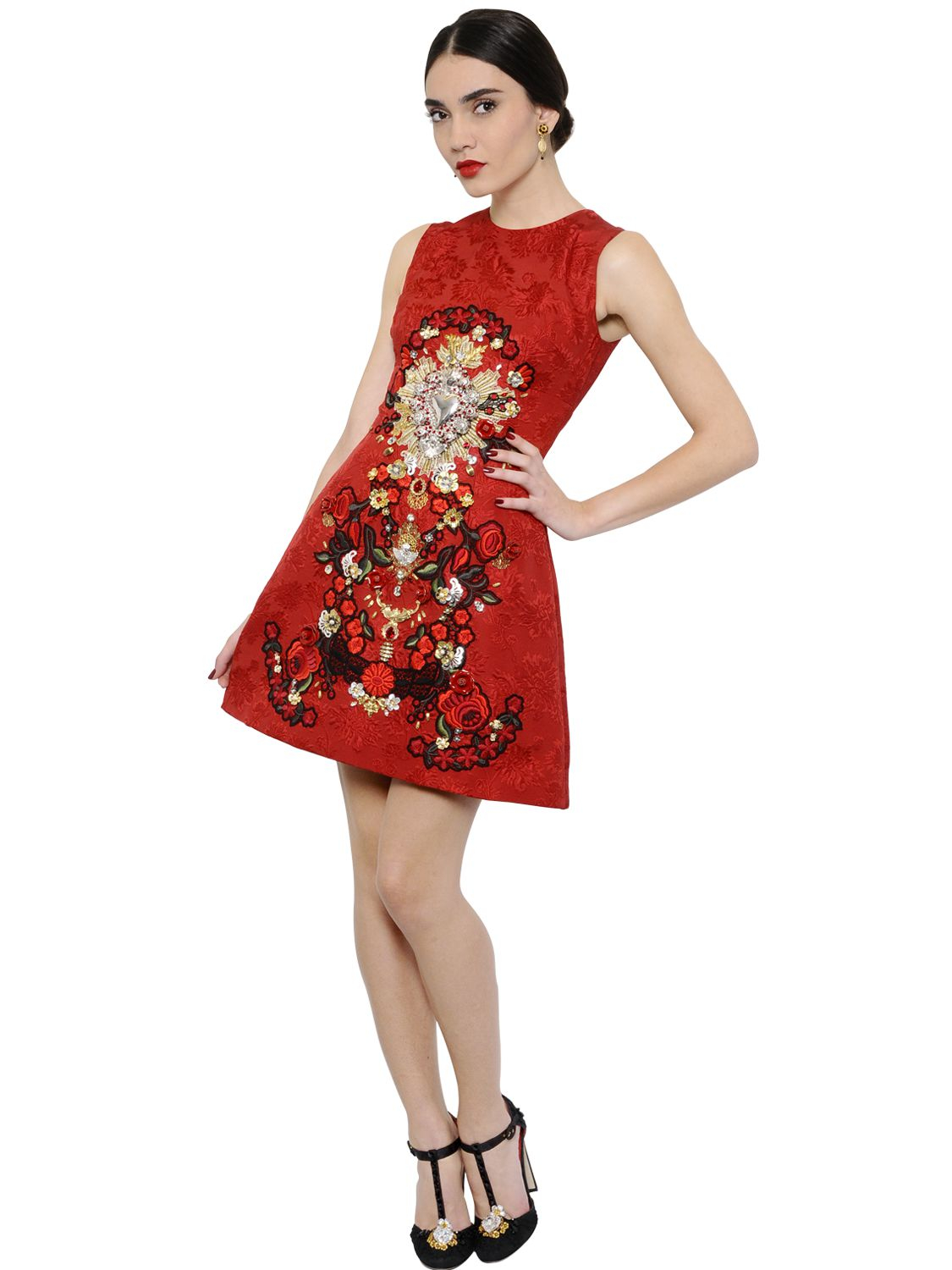 94fcdc4004 Dolce   Gabbana Sacred Heart Embellished Brocade Dress in Red - Lyst