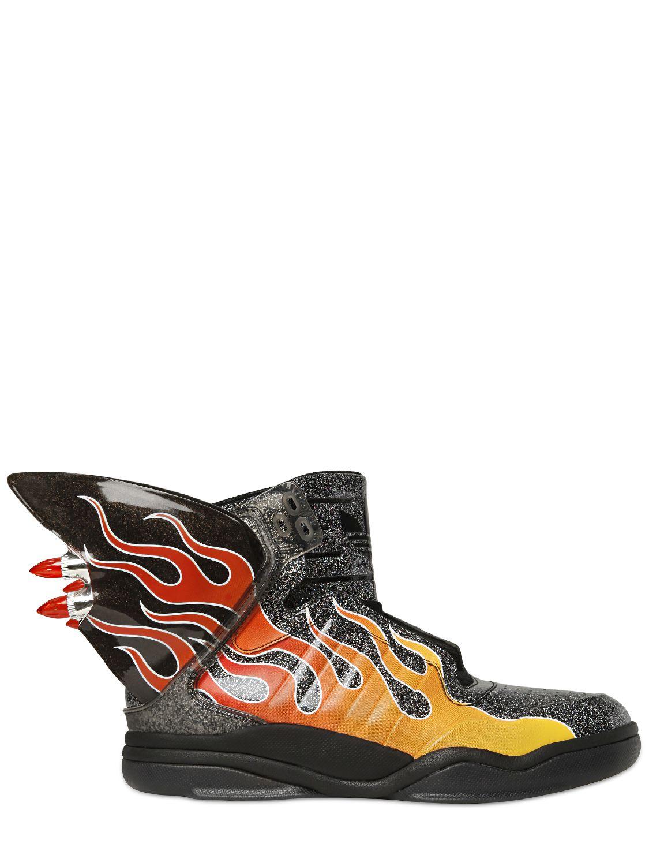 b03a86f5233 Lyst - Jeremy Scott for adidas Js Shark Flame Glitter High Top ...