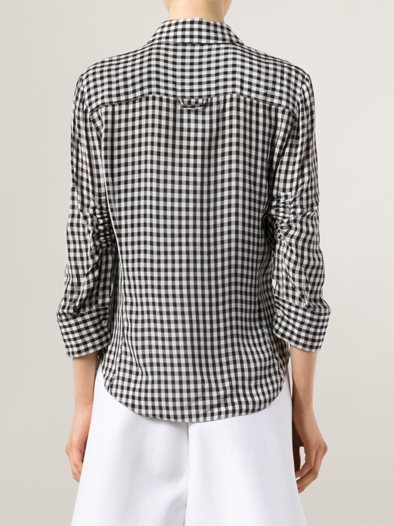 Lyst altuzarra gingham shirt in black for Red and white gingham shirt women s