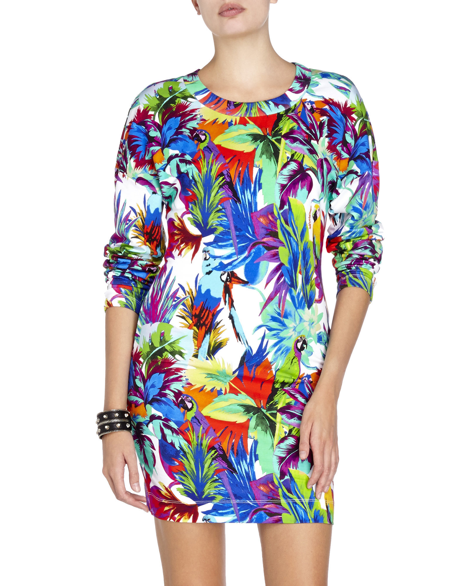 bce5ebc045 Love Moschino Long Sleeve Tropical Print Dress - Lyst