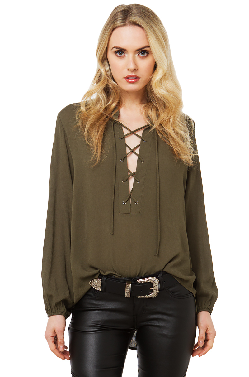 82f1bda0ee Lyst - AKIRA In The End Flowy Lace Up Top in Green