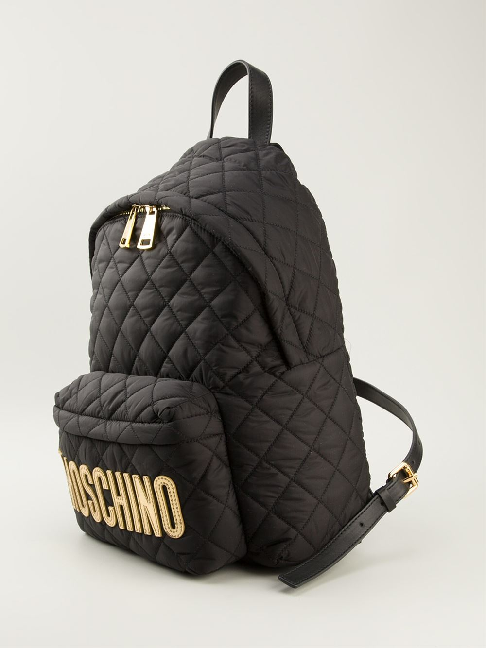 Moschino Quilted Logo Backpack In Black Lyst