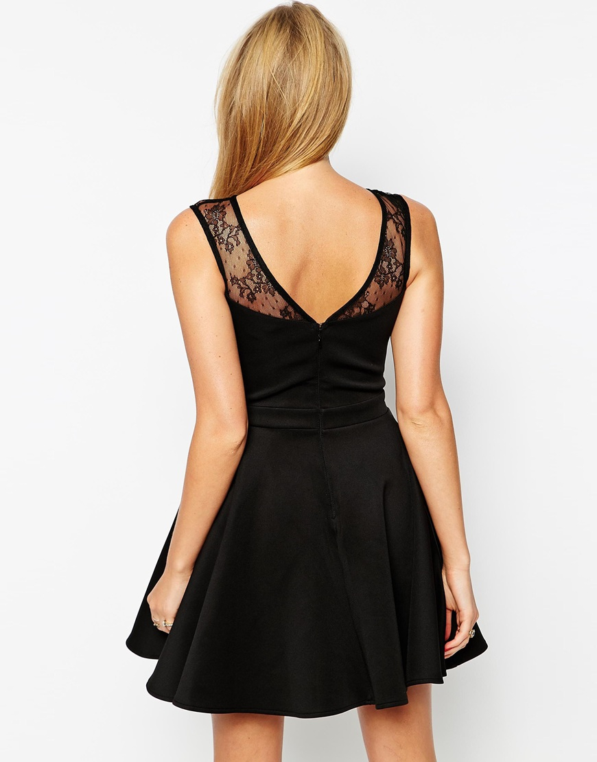 03c8542347 Lipsy Skater Dress With Lace And Sequin Top in Black - Lyst