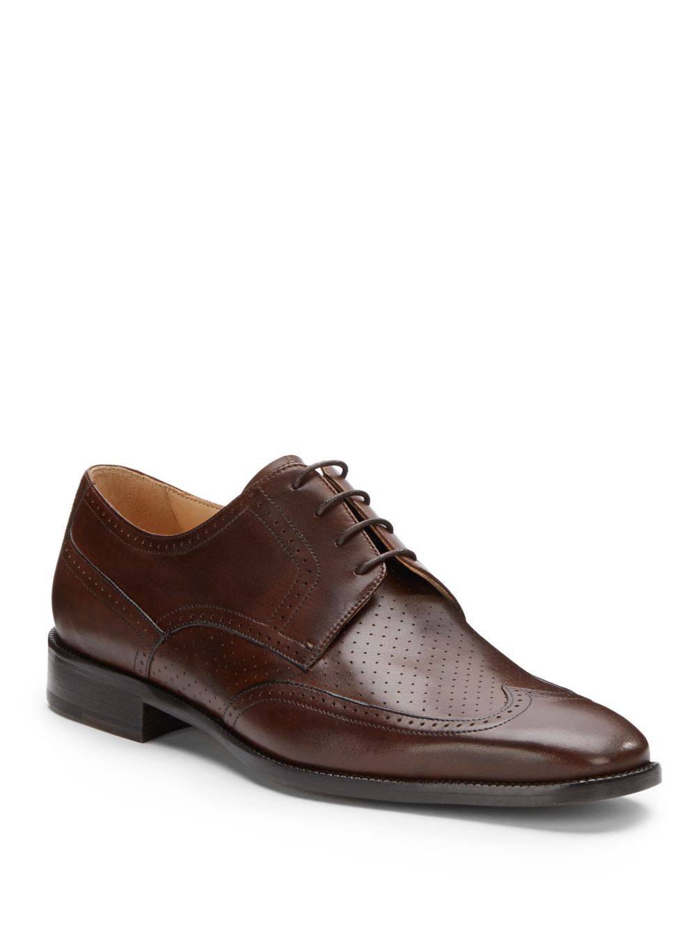 saks fifth avenue black label perforated leather wingtip