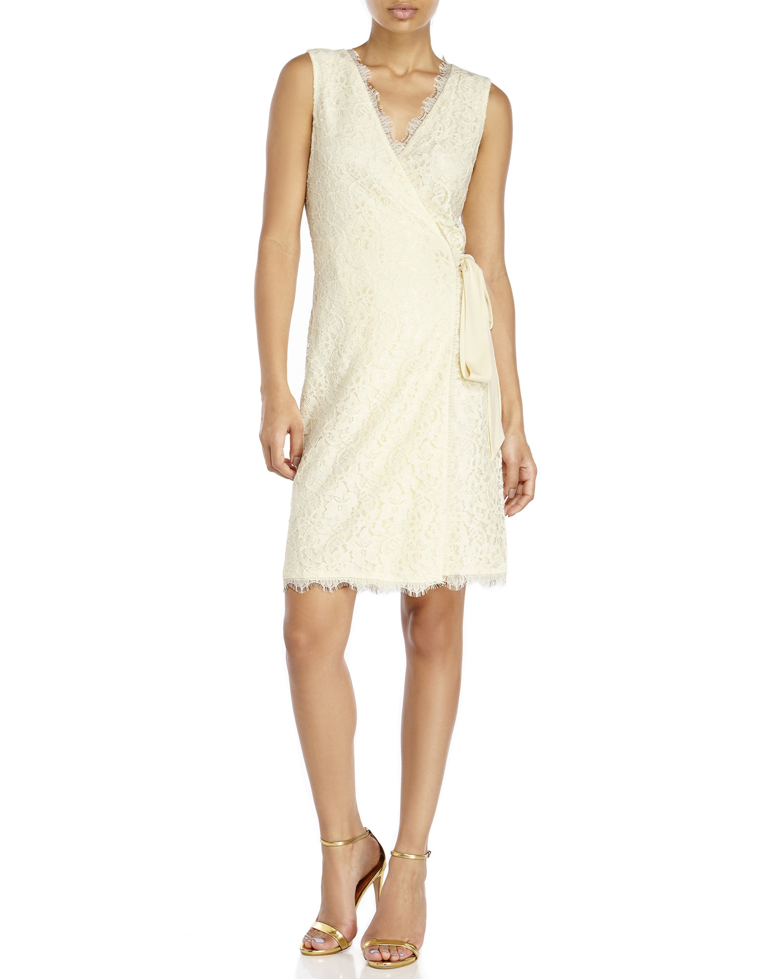 Diane Von Furstenberg Julianna Lace Wrap Dress In Ivory