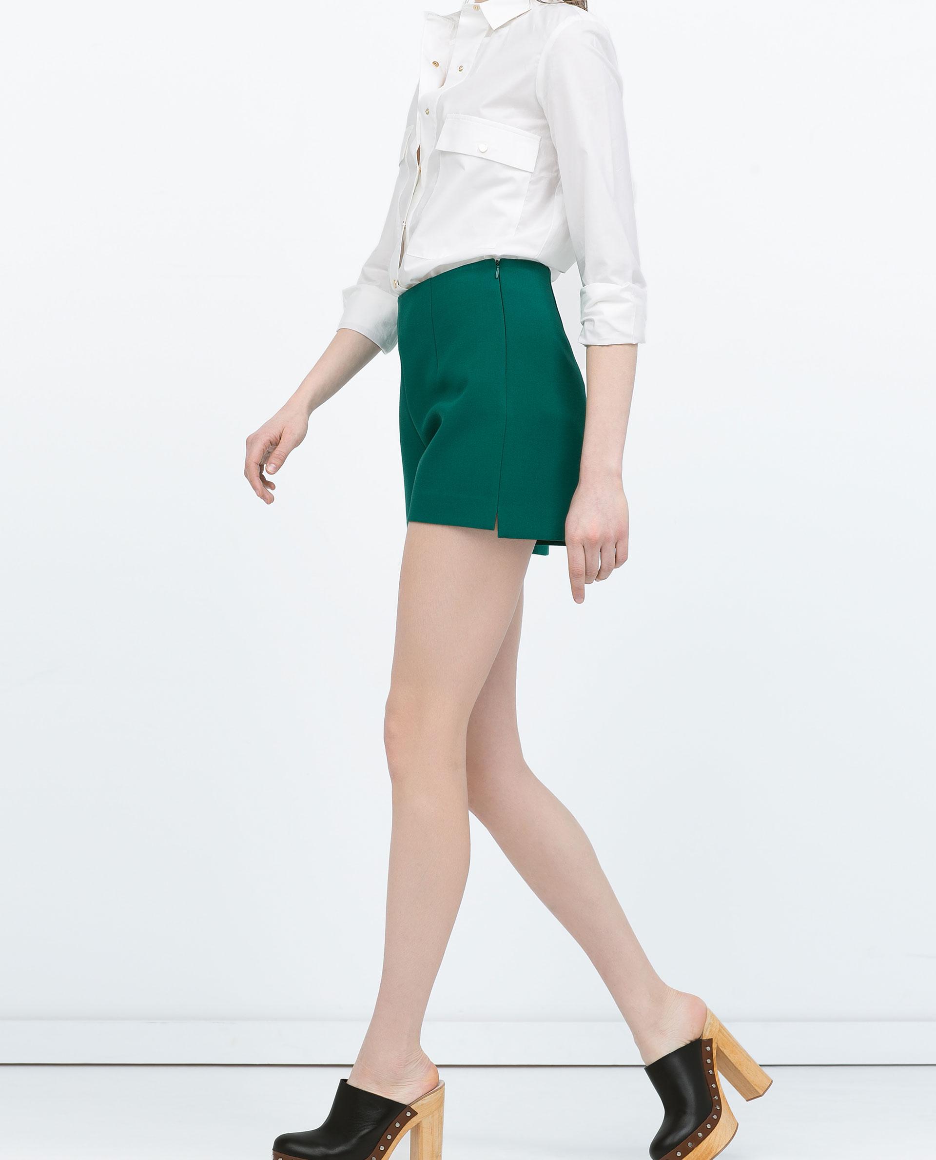 Zara High-Waisted Pleat Shorts High-Waisted Pleat Shorts in Green ...