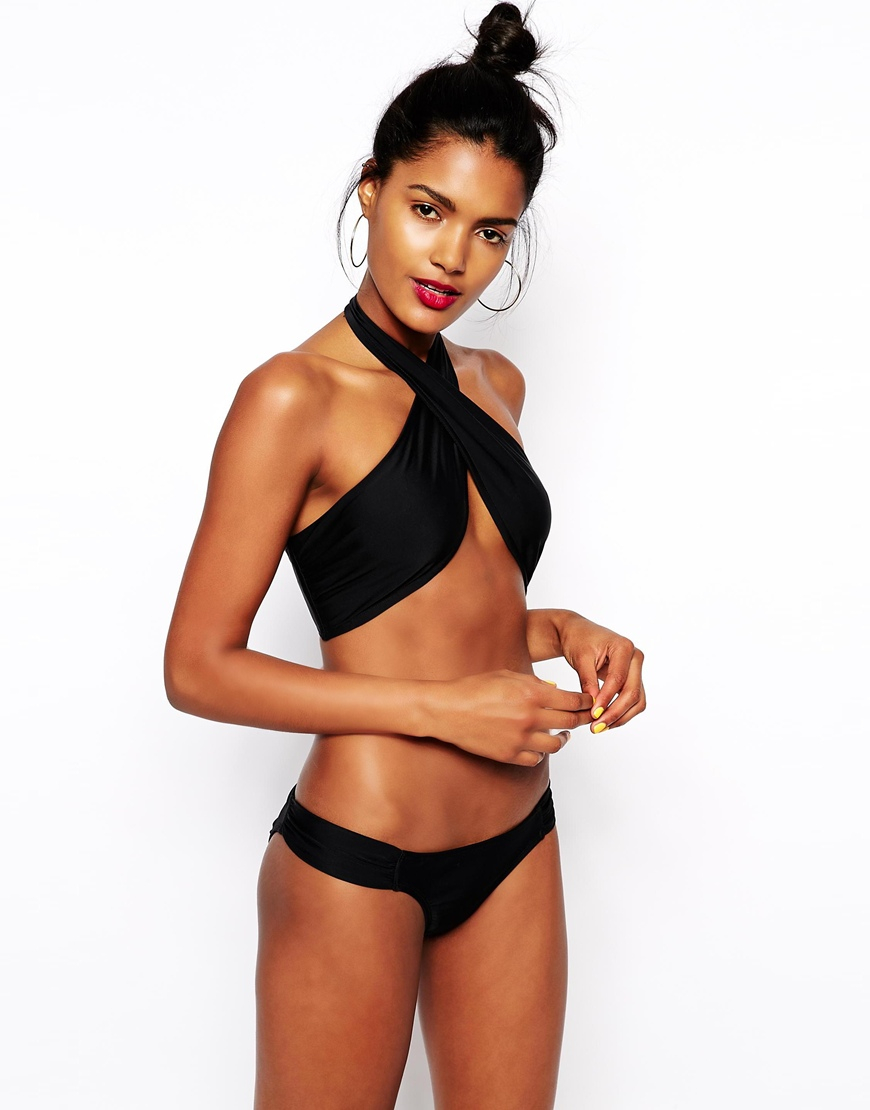 coupon codes best price great discount sale ASOS Cross Wrap Halter Bikini Top in Black - Lyst