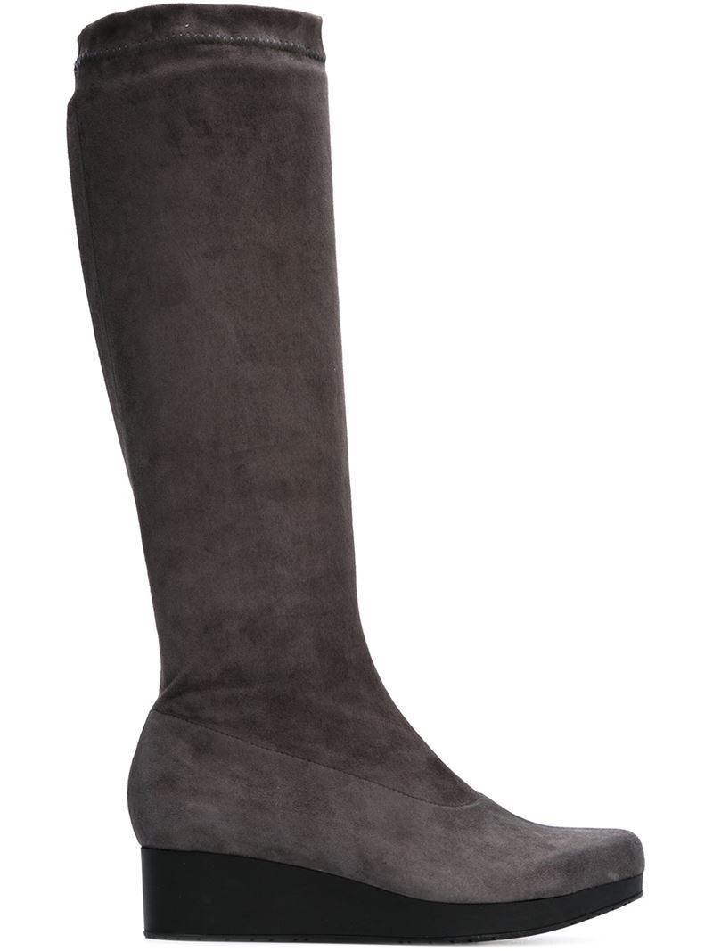 robert clergerie mid calf wedge boots in gray lyst
