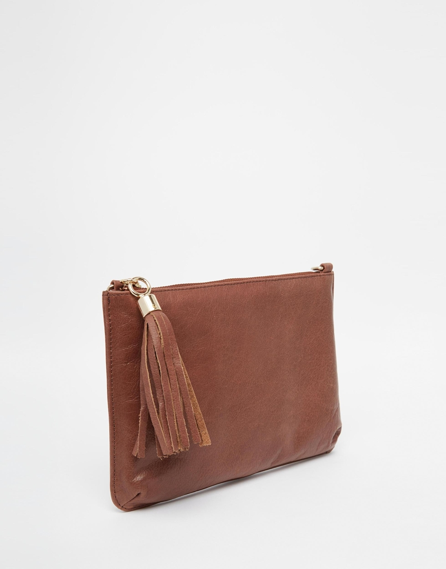 Urbancode Leather Clutch Bag With Optional Shoulder Strap in Brown ...