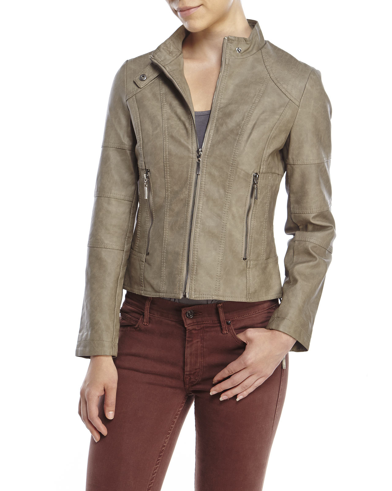 4913297f996 Lyst - Max Studio Petite Faux Leather Jacket in Gray