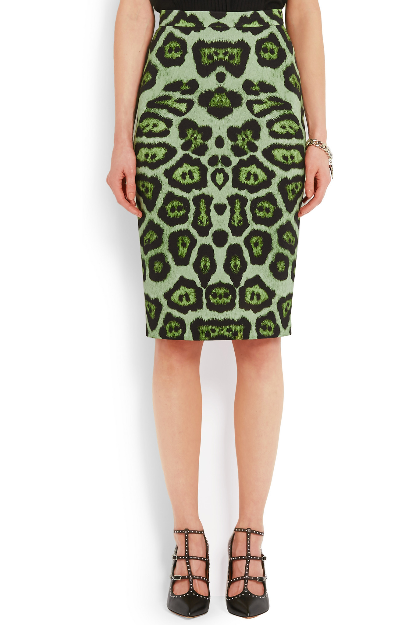 Lyst - Givenchy Skirt In Green Leopard-print Stretch-jersey 2e6fe79ef