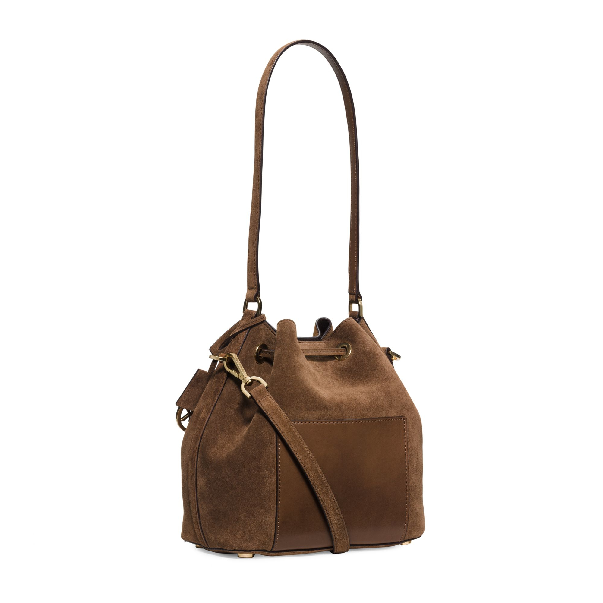 Lyst - Michael Kors Greenwich Suede Bucket Bag in Brown 64043243ece84