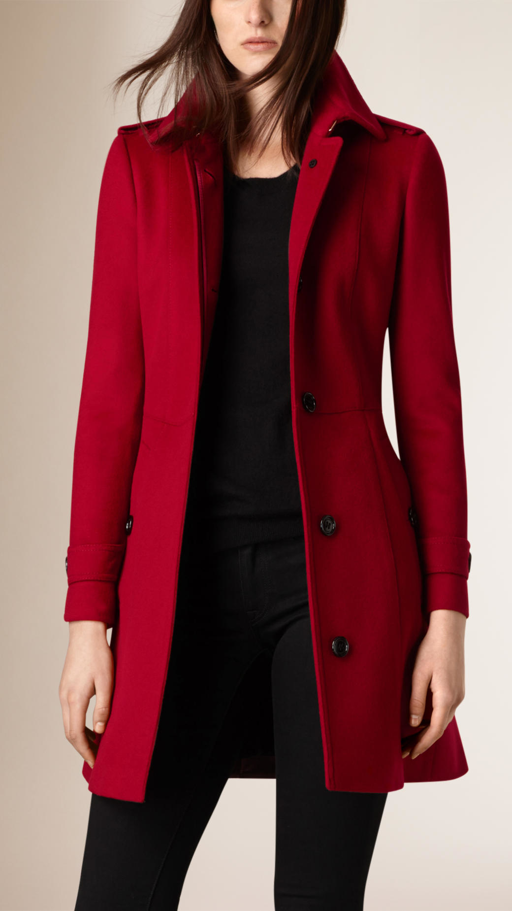 Burberry Pleat Detail Wool Cashmere Trench Coat in Red | Lyst