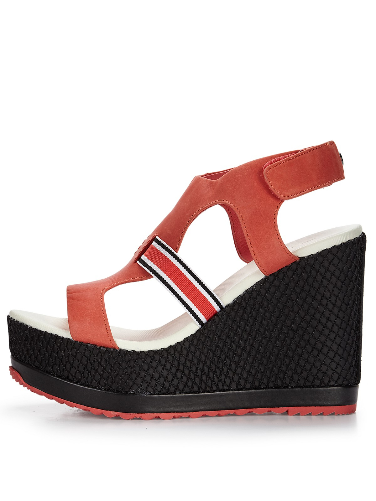 lacoste lacoste abelle wedge sandals in coral lyst