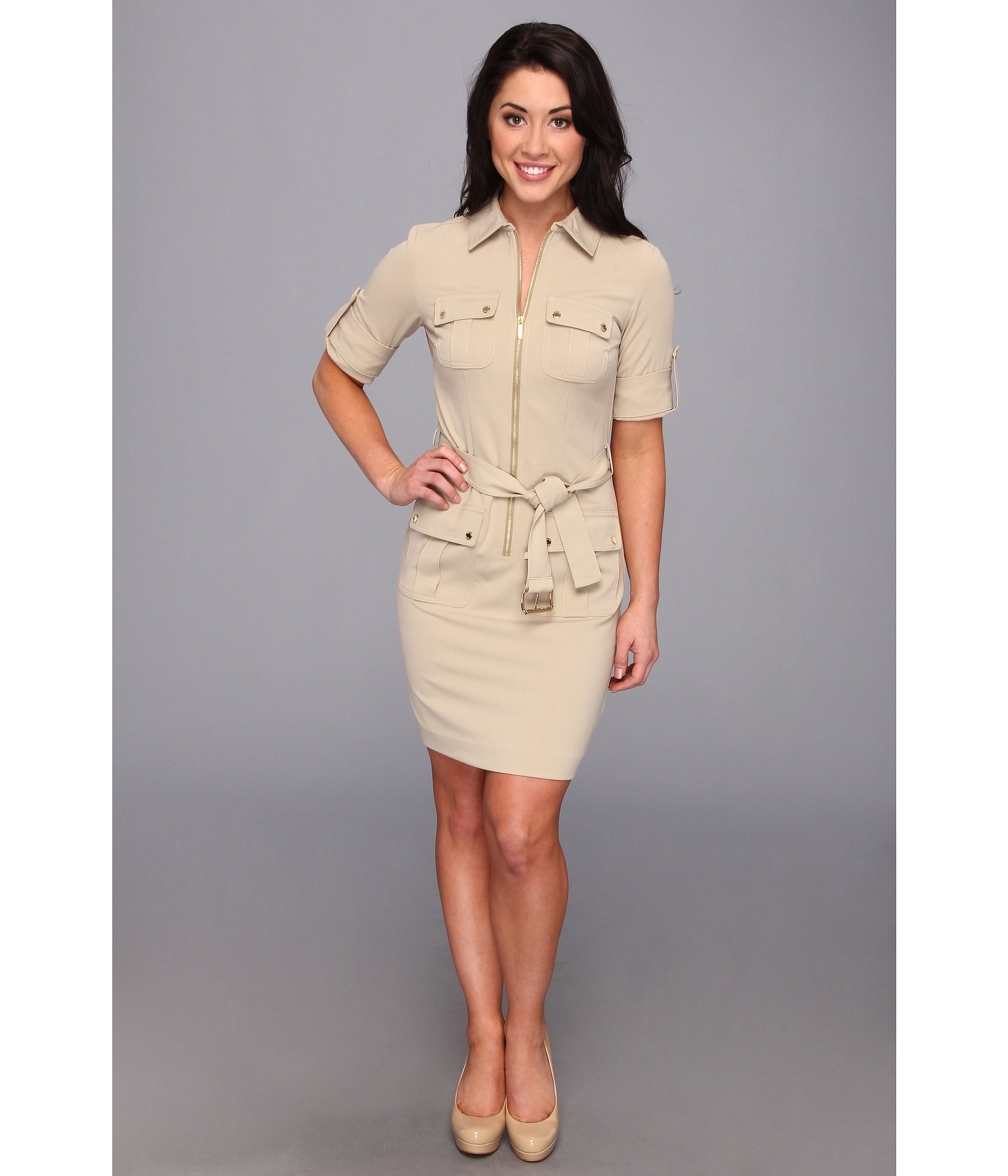 Michael michael kors Petite Roll Sleeve Belted Shirt Dress in ...