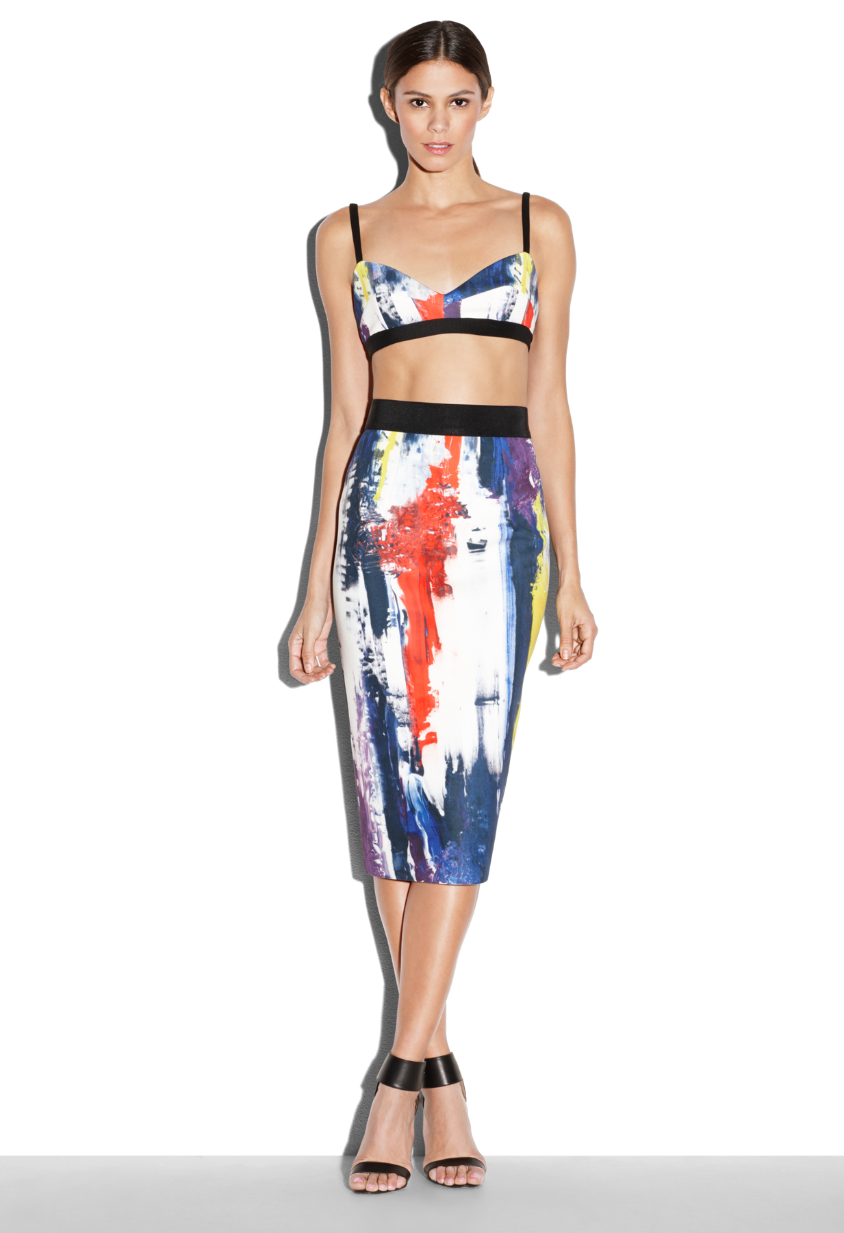Milly Graffiti Print Midi Pencil Skirt | Lyst
