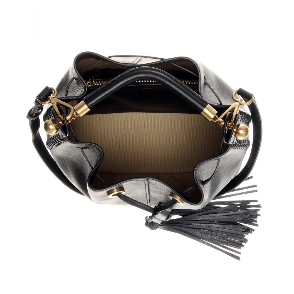 cloe bags - Chlo�� Gala Medium Leather Bucket Bag in Black | Lyst