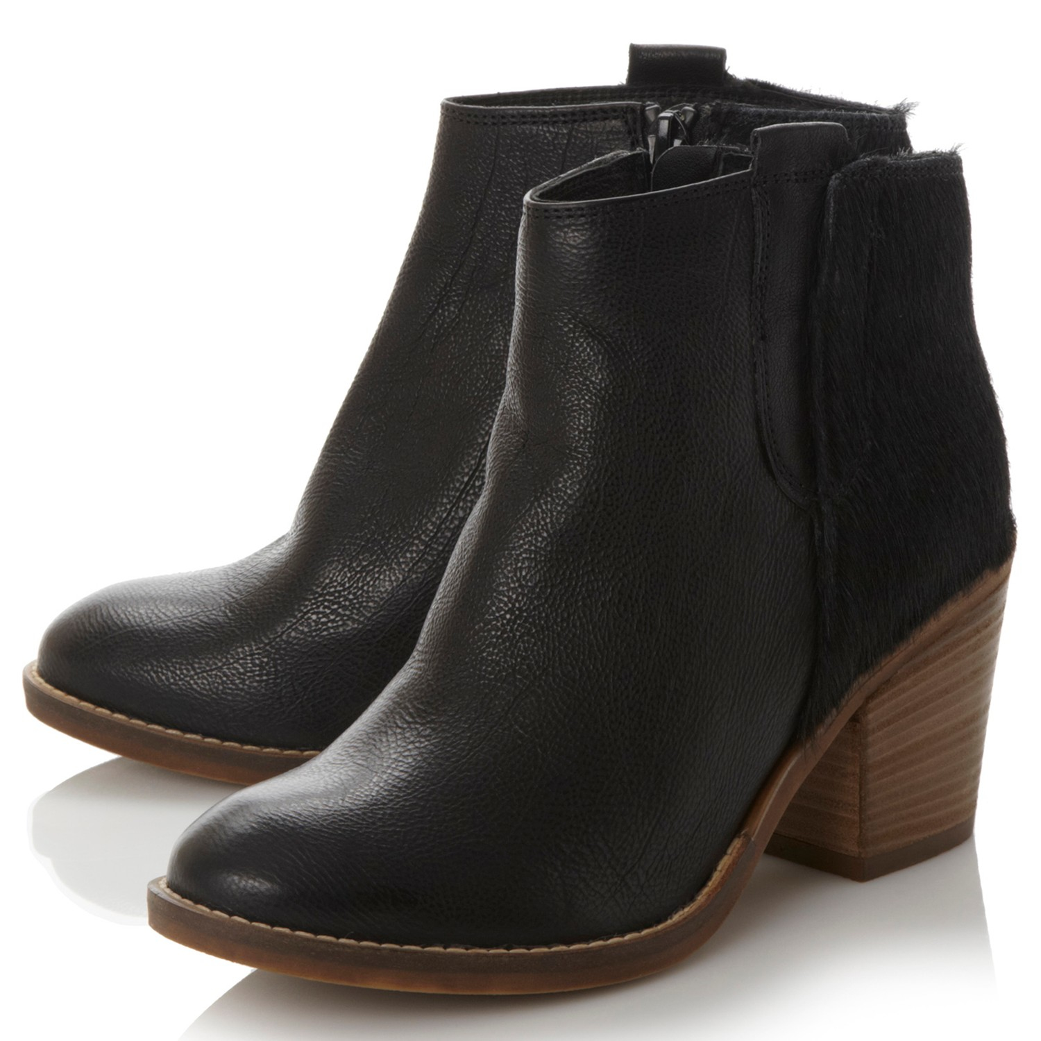 dune poppie block heeled ankle boots in black lyst