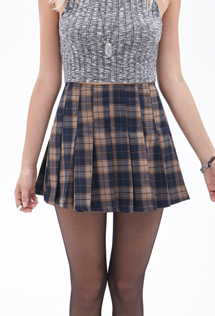 forever 21 pleated plaid mini skirt in blue lyst