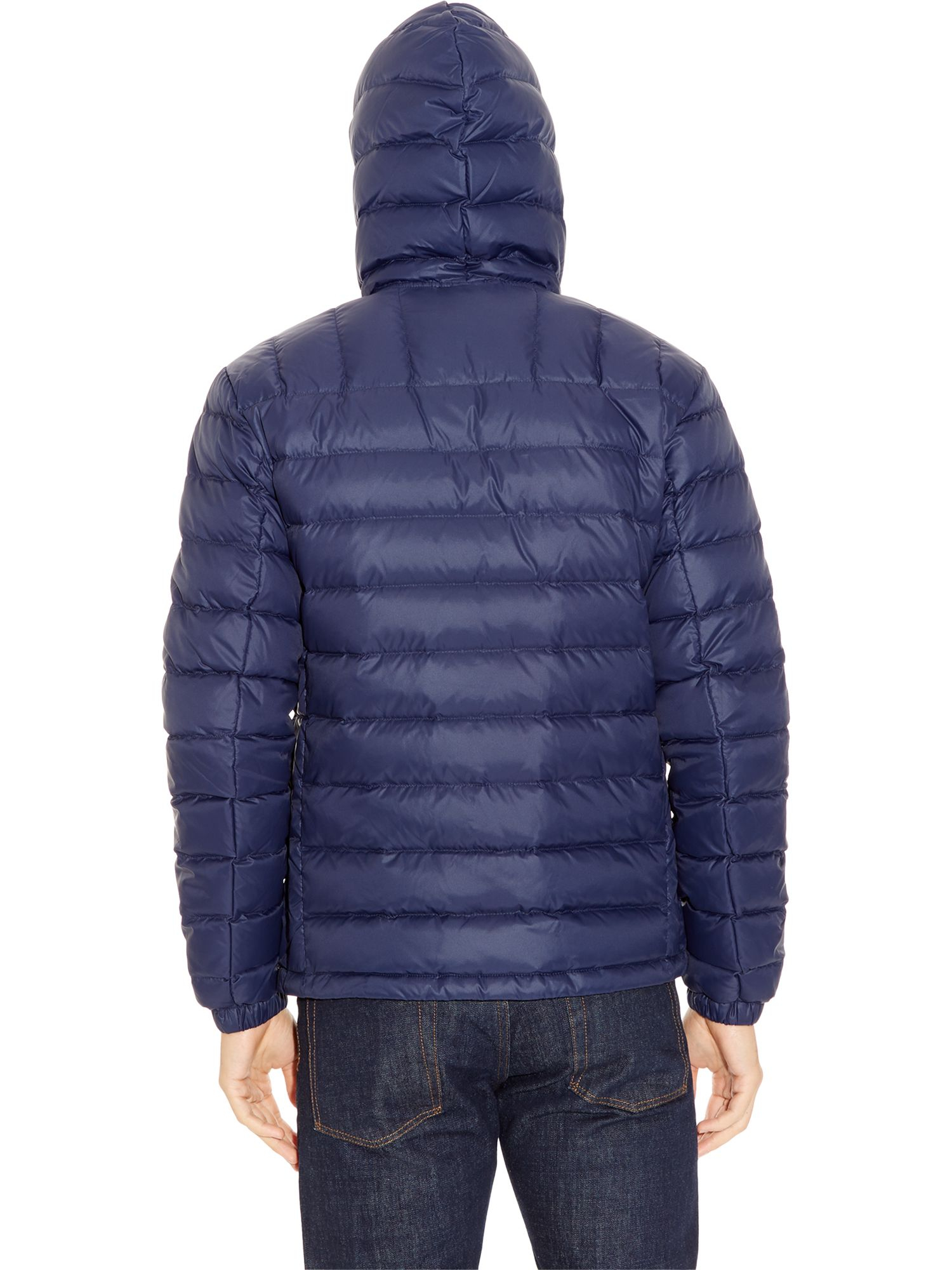 Lacoste Hooded Down Jacket in Blue for Men | Lyst