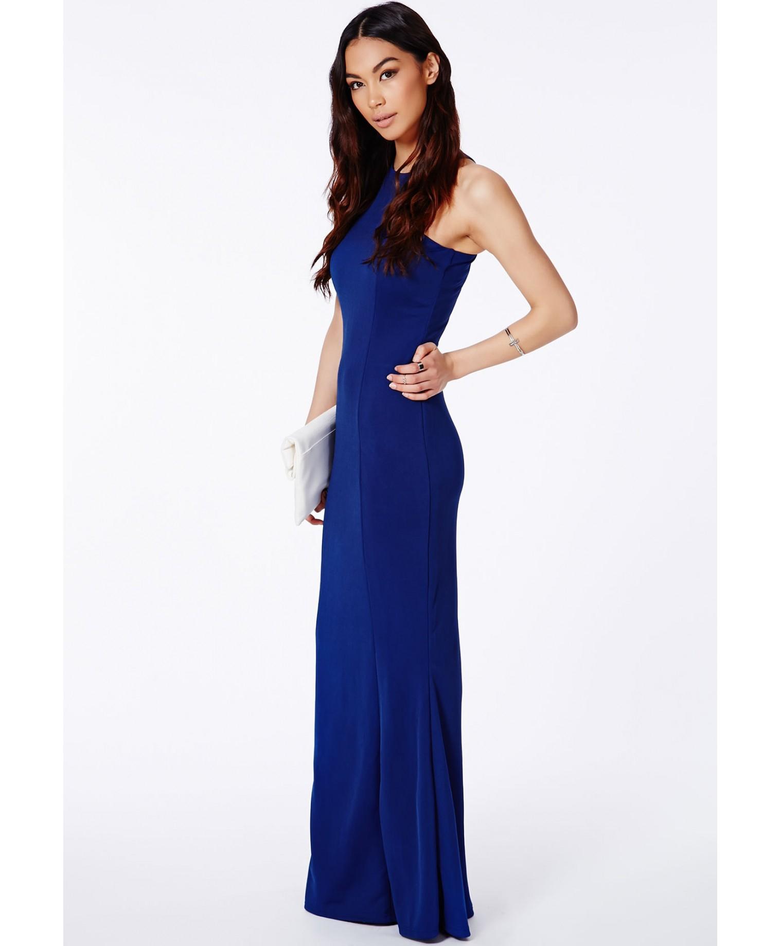 Lyst - Missguided Kaisa Crepe High Neck Maxi Dress Cobalt in Blue ac54e30e8