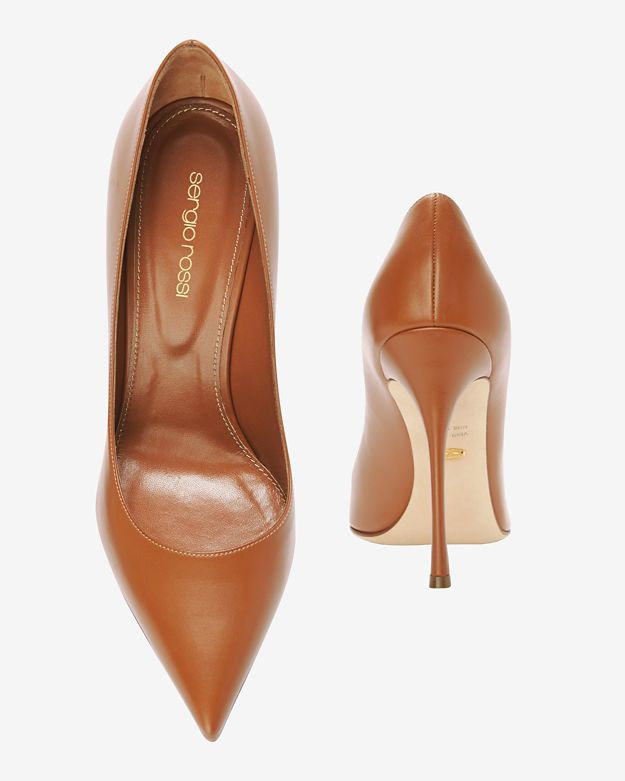 d7d90fdd64c Lyst - Sergio Rossi Godiva Pointy Toe Leather Pump  Camel in Brown
