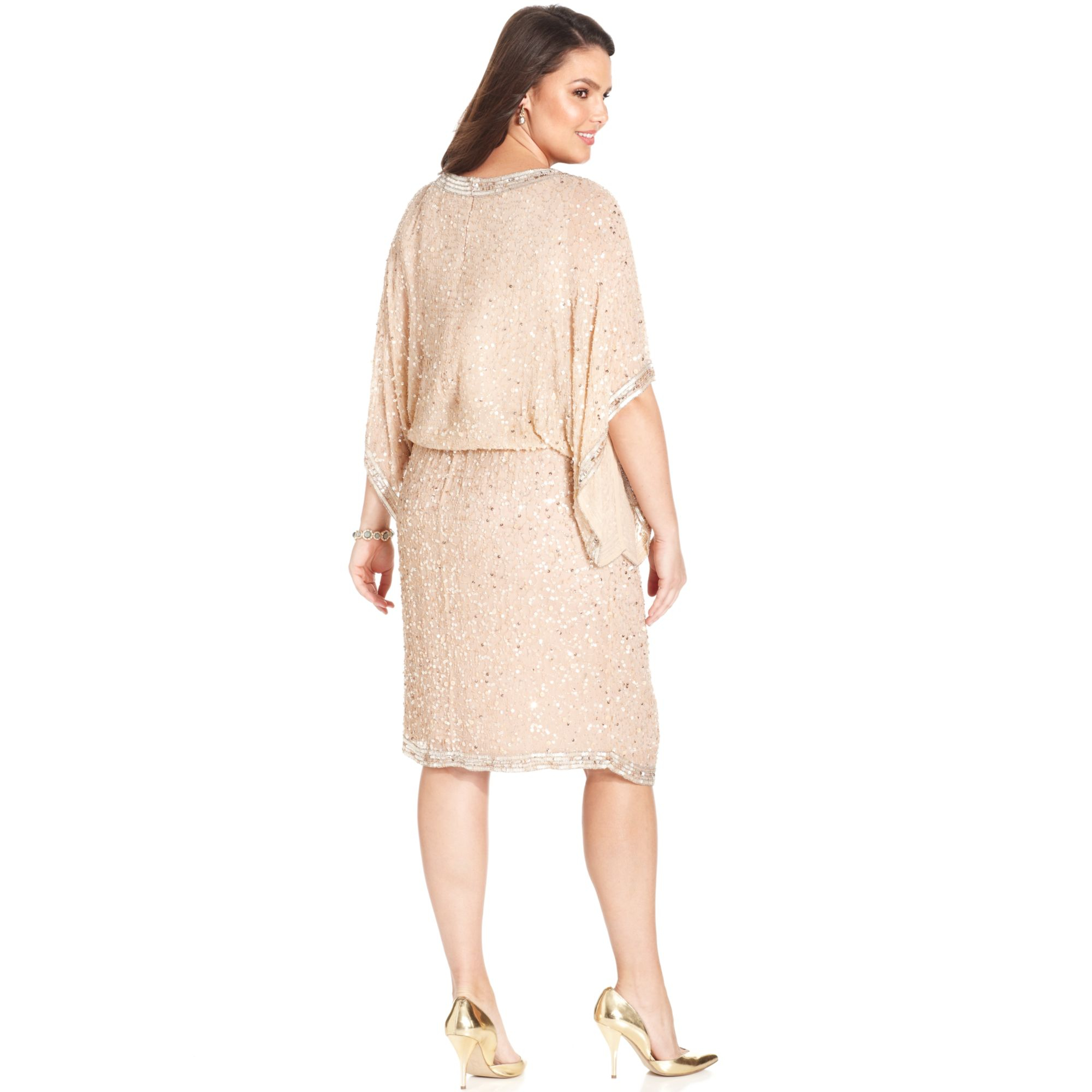 a39c835ca5e Lyst - Patra Plus Size Kimonosleeve Beaded Dress in Pink