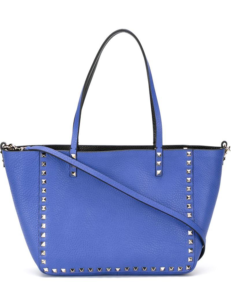 4ae62df96c Valentino 'rockstud' Reversible Shopper Tote in Blue - Lyst