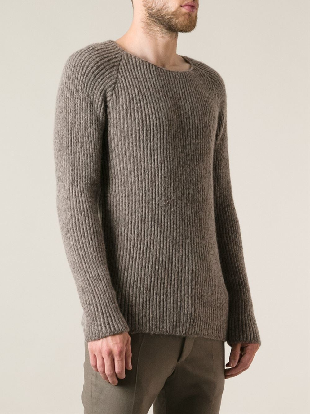 Haider ackermann Ribbed Sweater in Brown for Men | Lyst