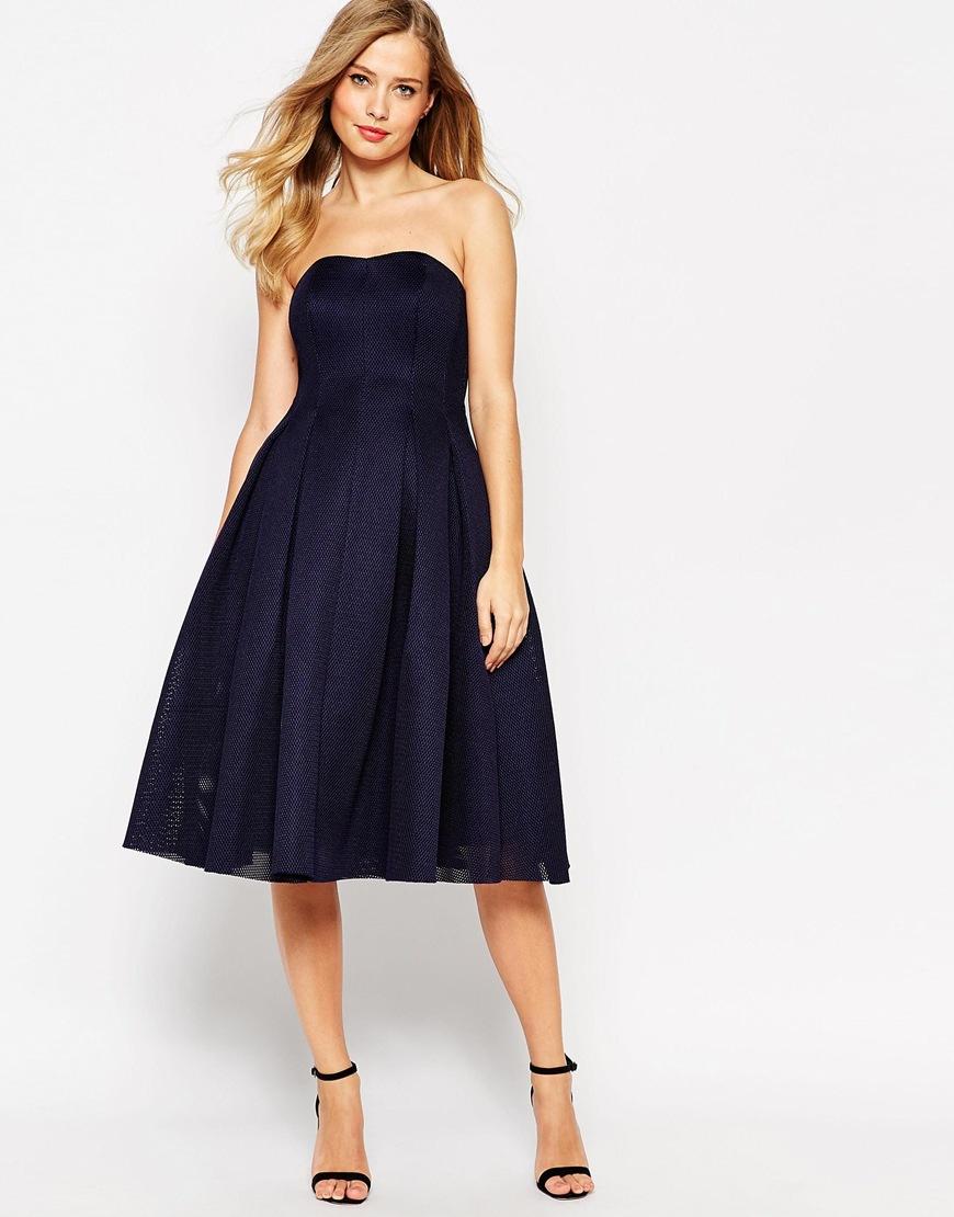 Lyst - Asos Super Full Mesh Bandeau Midi Prom Dress in Blue