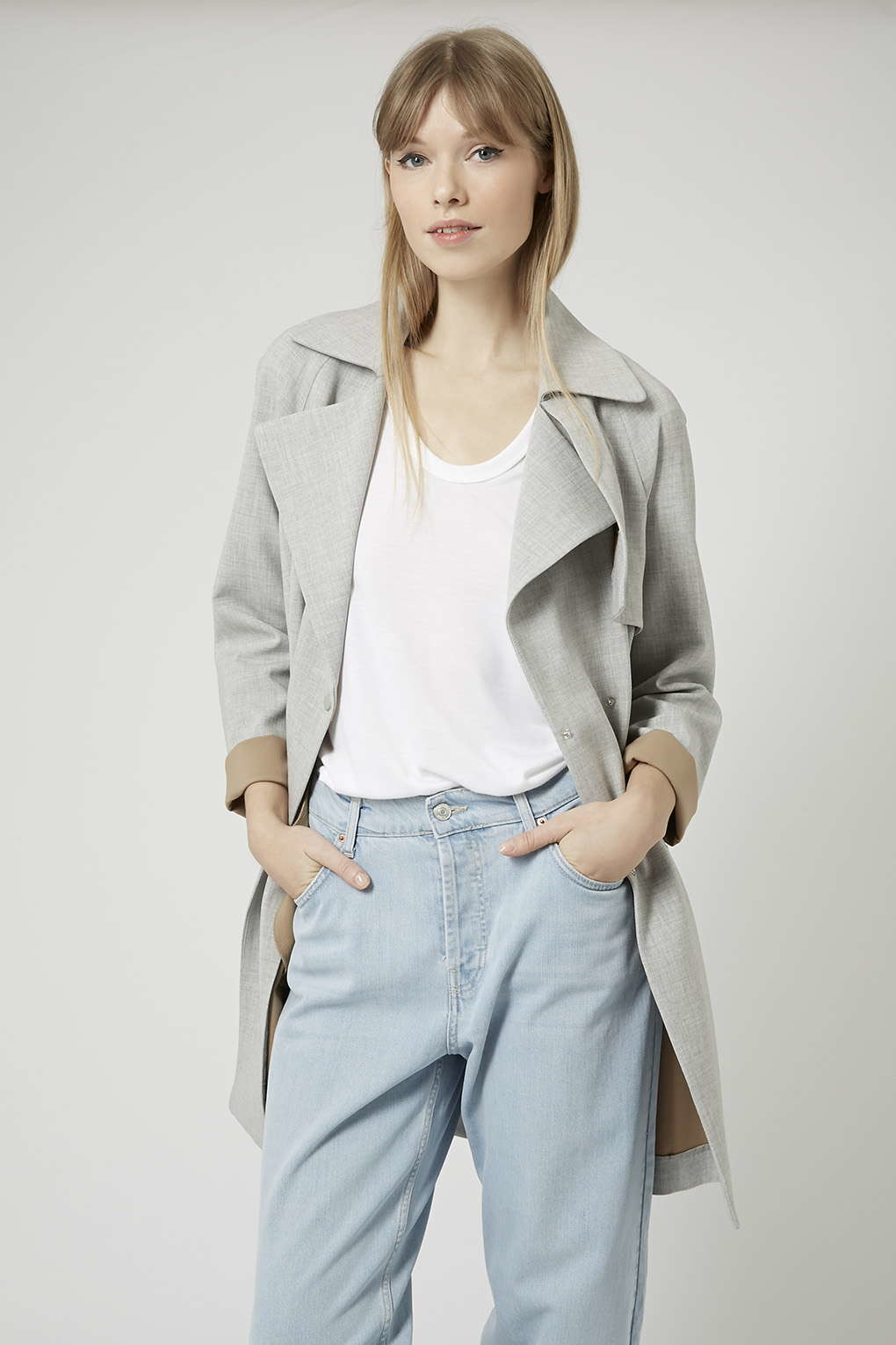 Lyst - Topshop Soft Belted Trench Coat in Gray