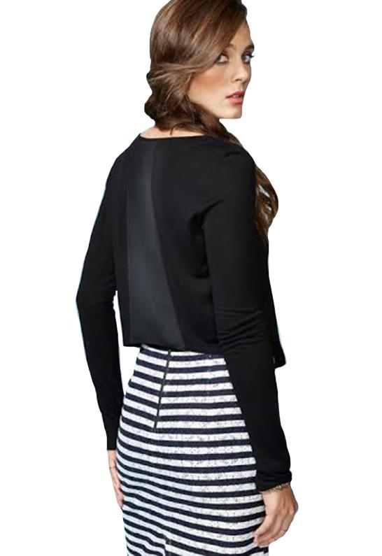588f4325def Heather by Bordeaux Long Sleeve Silk Back Crop Top Black in Black - Lyst
