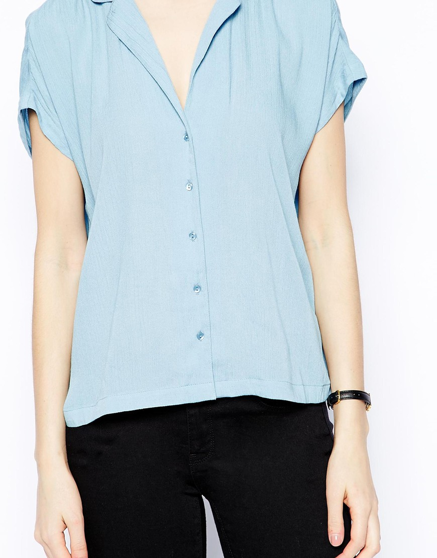 Lyst Asos V Neck Grown On Sleeve Blouse In Blue