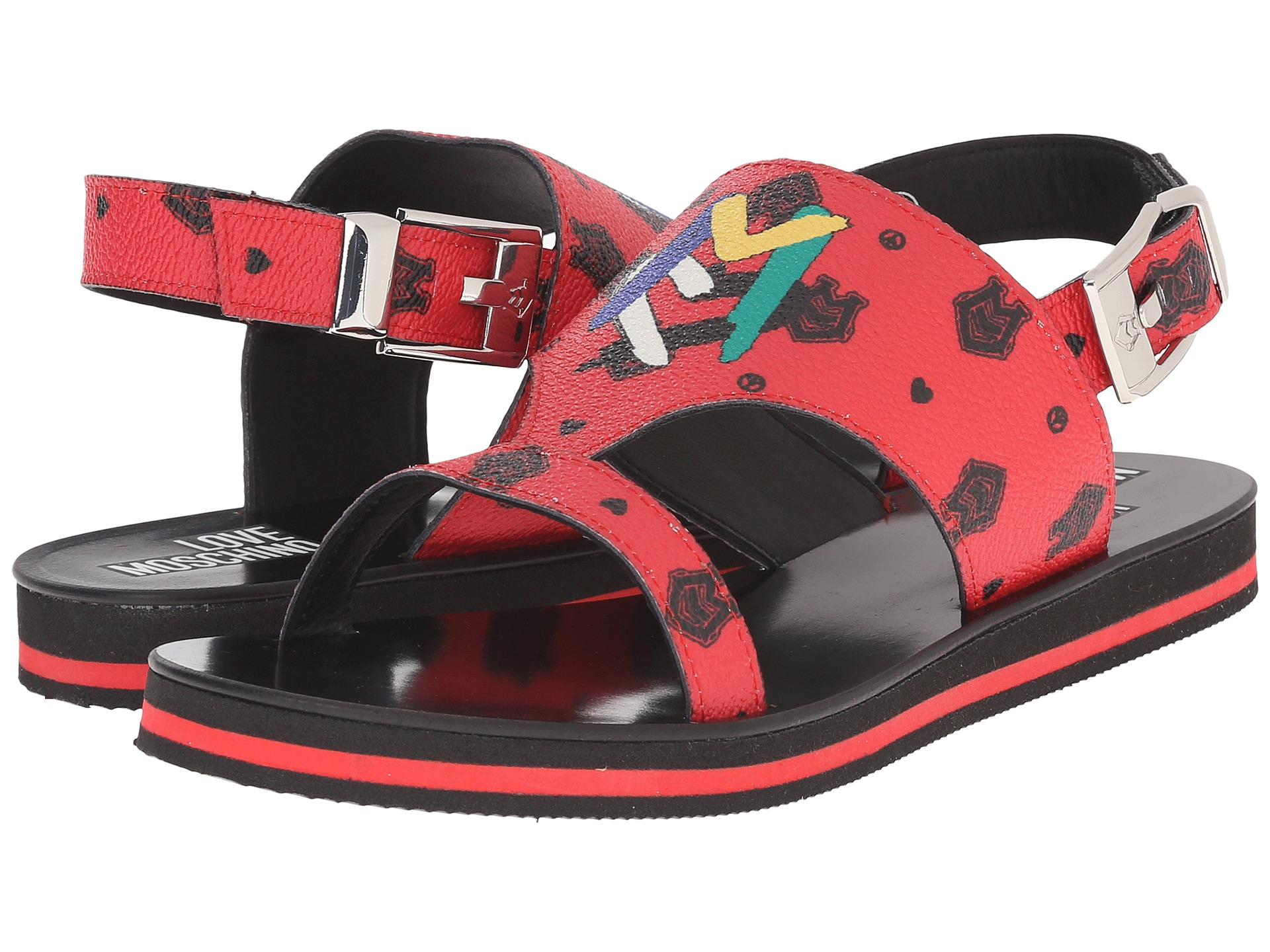 65f9ae75ee2 Love Moschino Thong Sandal W/ Logo Print in Red - Lyst