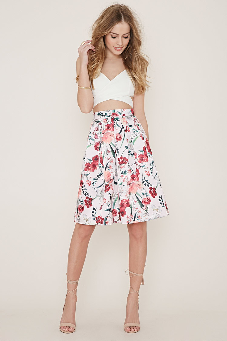 Forever 21 Floral A-line Skirt in Pink | Lyst