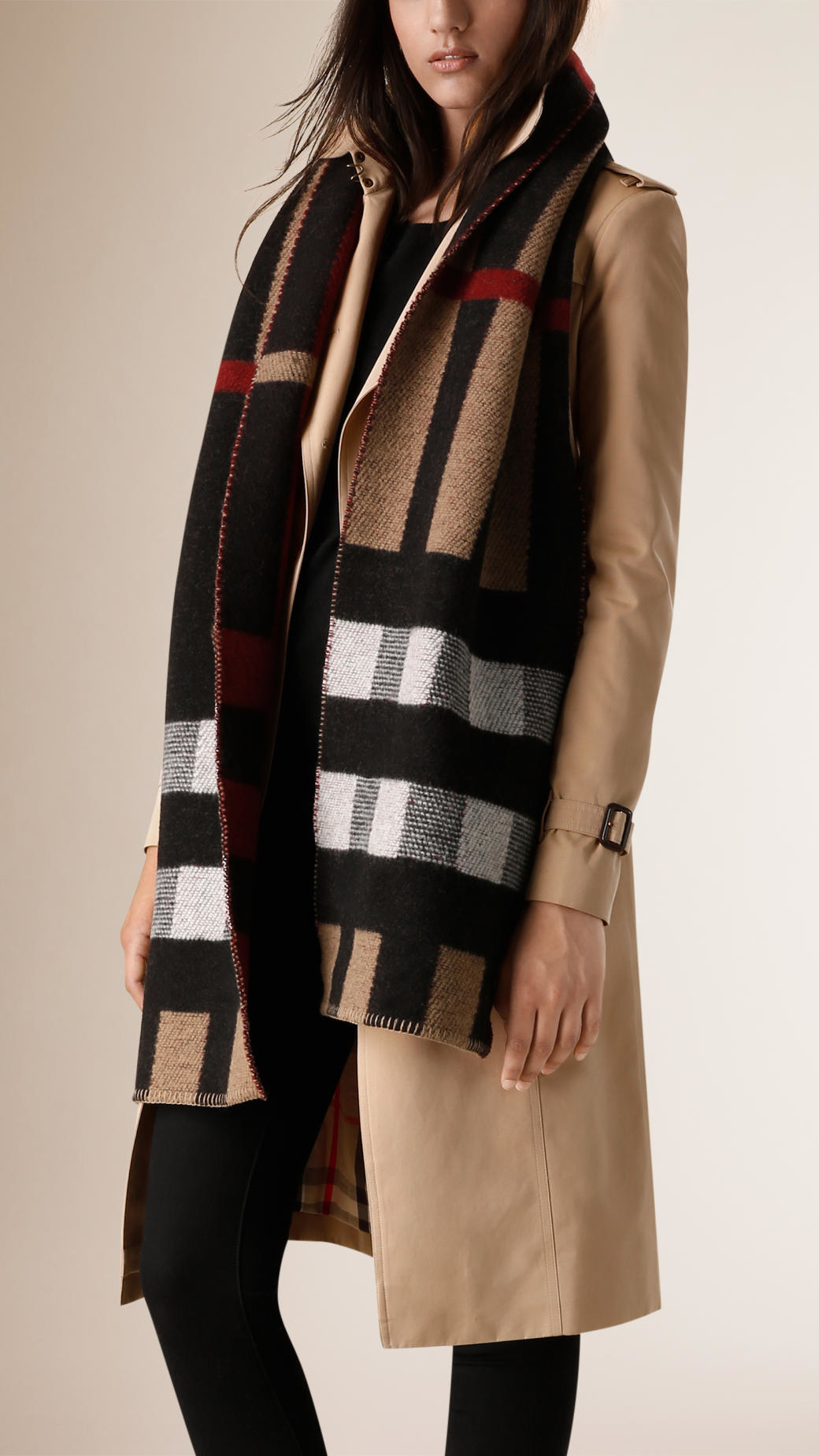 57d0a33fb79 Burberry Fringed Check Wool Cashmere Scarf