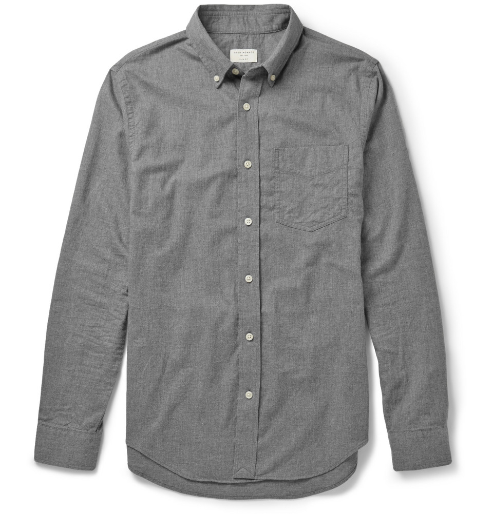 Lyst club monaco slim fit cotton flannel shirt in gray for Trim fit flannel shirts