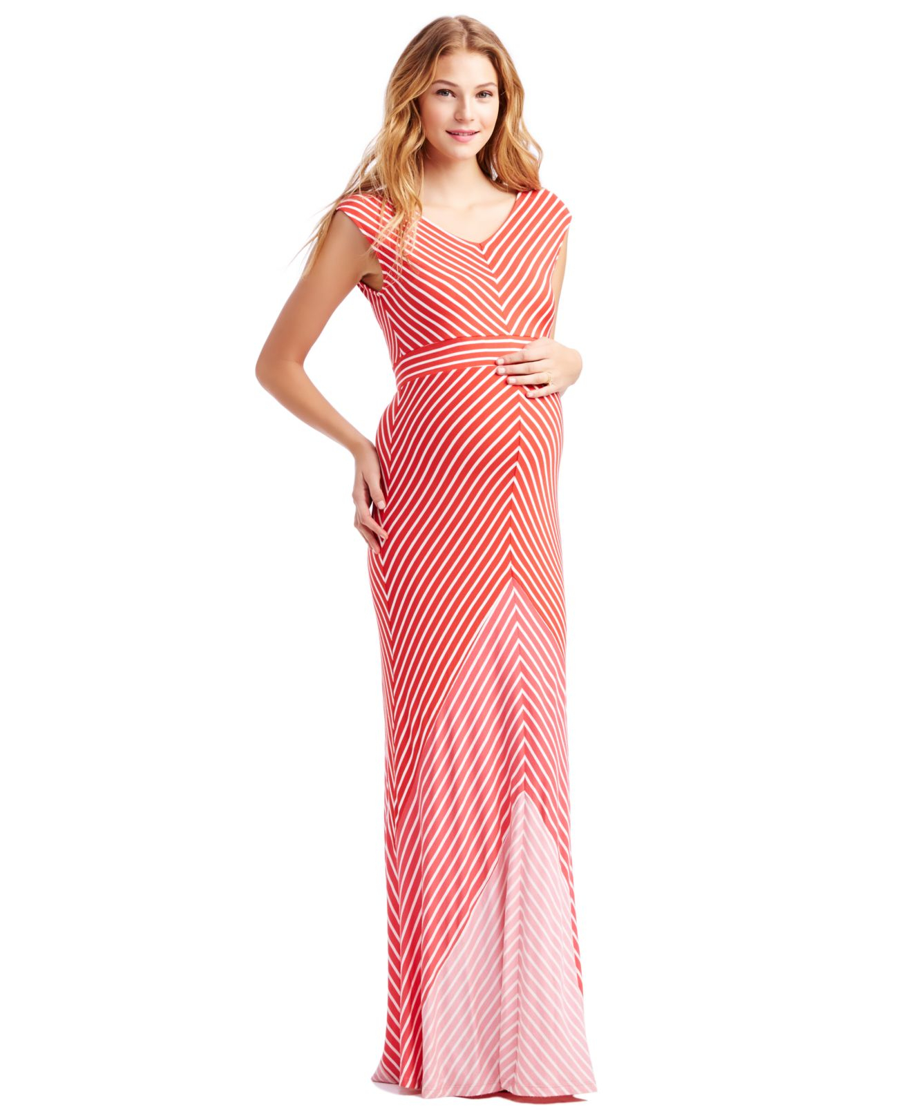 63b47ce3f7d Lyst - Jessica Simpson Maternity Cap-sleeve Striped Maxi Dress in Pink
