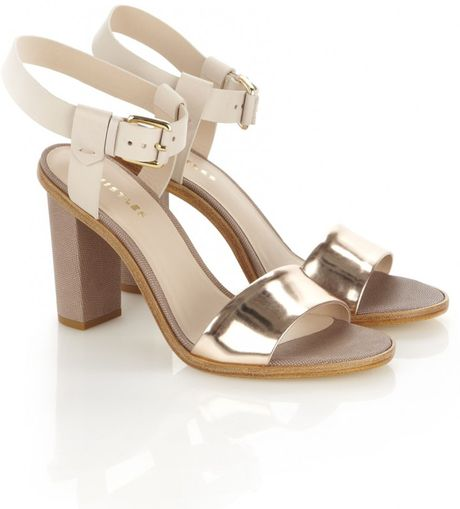 Whistles Chi Chi Block Heel Sandal In Silver Nude Lyst