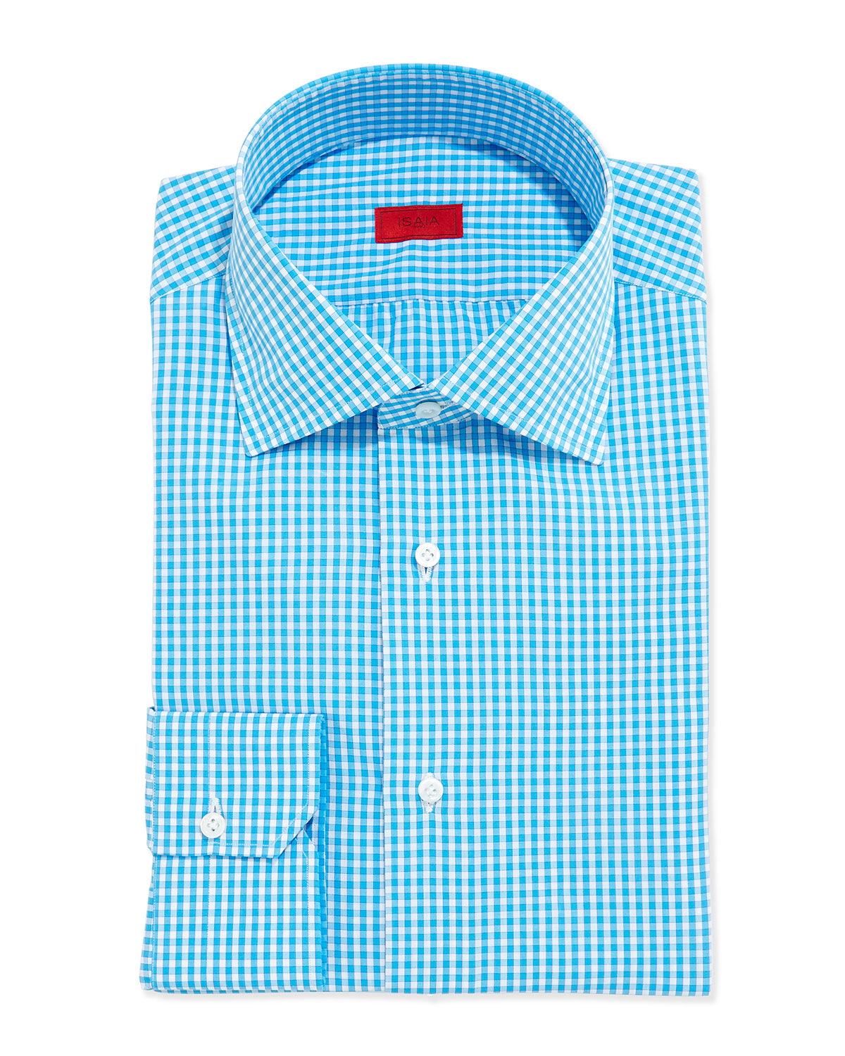 Isaia Gingham Dress Shirt In Blue For Men Lyst