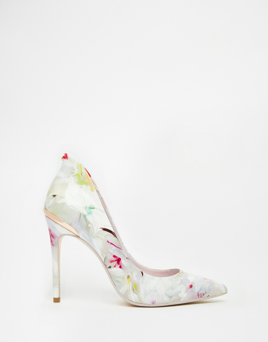 f27989889 Lyst - Ted Baker Savenniers Floral Print Leather Court Shoes in White