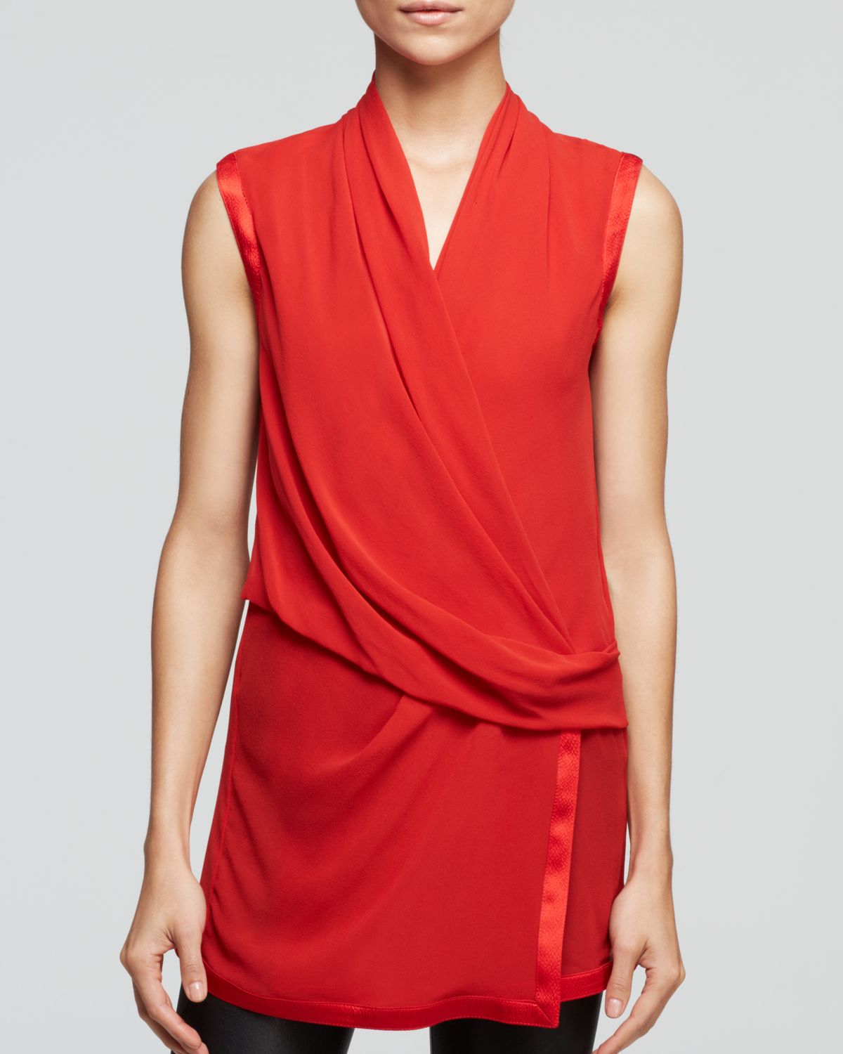 e6c3dd0f32853c Lyst - Helmut Lang Top - Pebble Wrap Silk in Orange