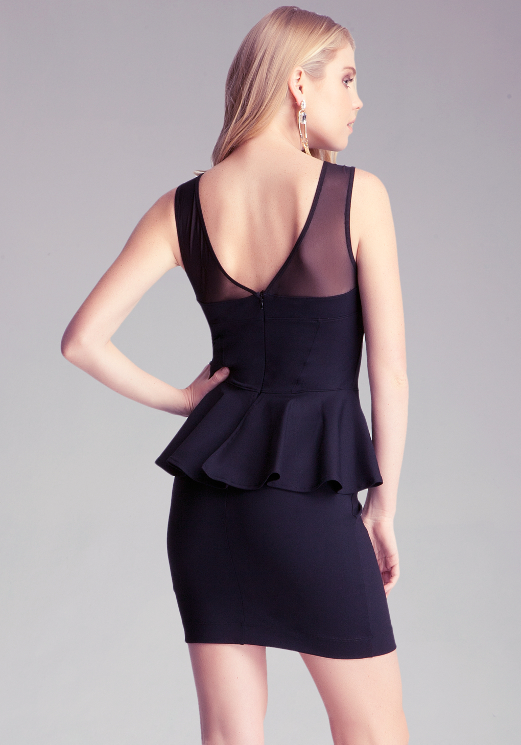 Lyst Bebe Stella Peplum Dress In Black