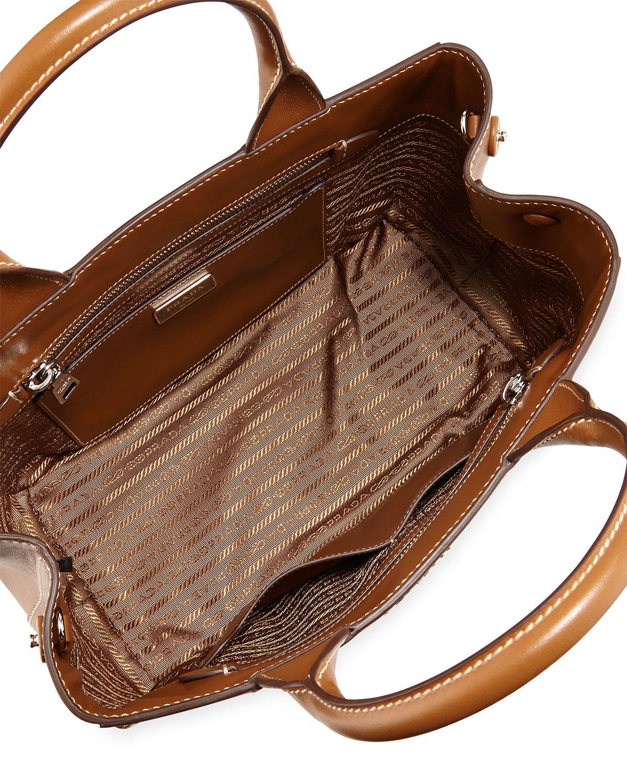 b783cb269261 ... new zealand lyst prada soft leather medium garden tote bag in brown  00048 389af reduced prada soft calf ...
