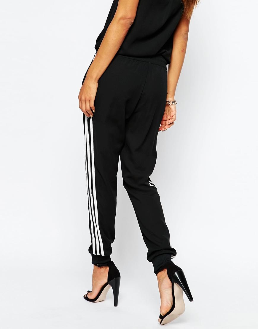 adidas Originals 3 Stripe Cuffed Sweat Pants in Black - Lyst 1b85fdb580