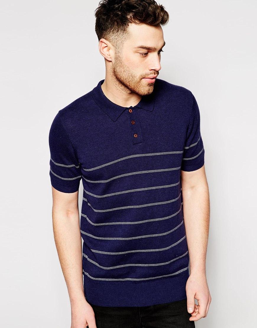 ben sherman knit polo with stripe in blue for men lyst. Black Bedroom Furniture Sets. Home Design Ideas