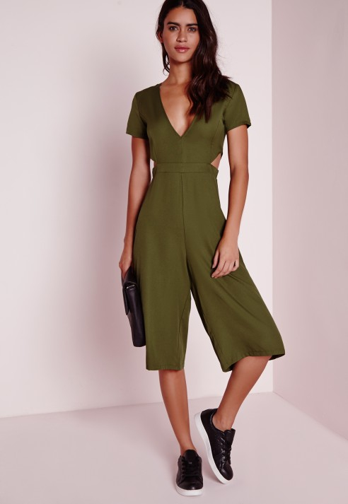 6392d6b870b8 Lyst - Missguided Cut Out Waist Culotte Jumpsuit Khaki in Green