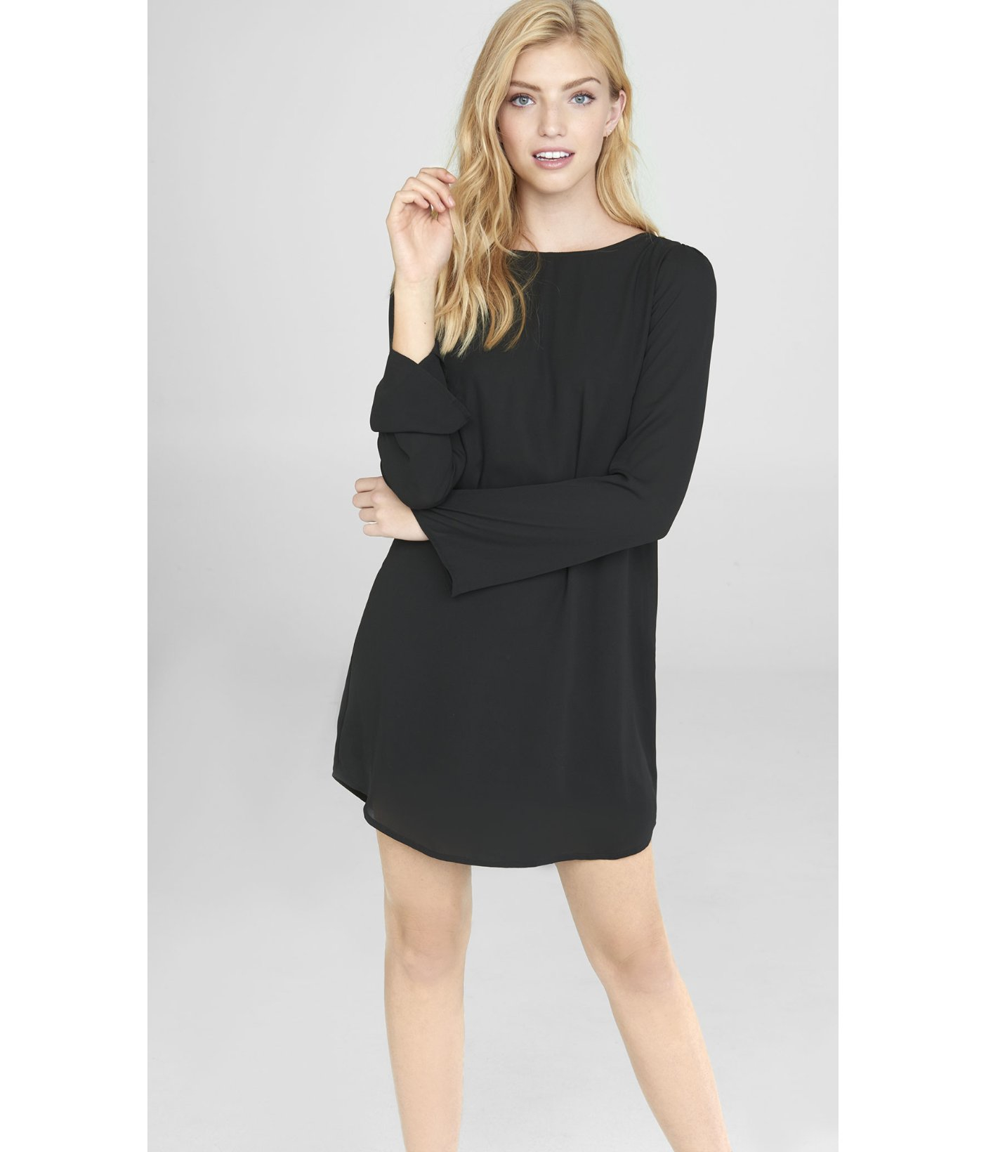 Express Black Fringe Back Tunic Dress in Black | Lyst