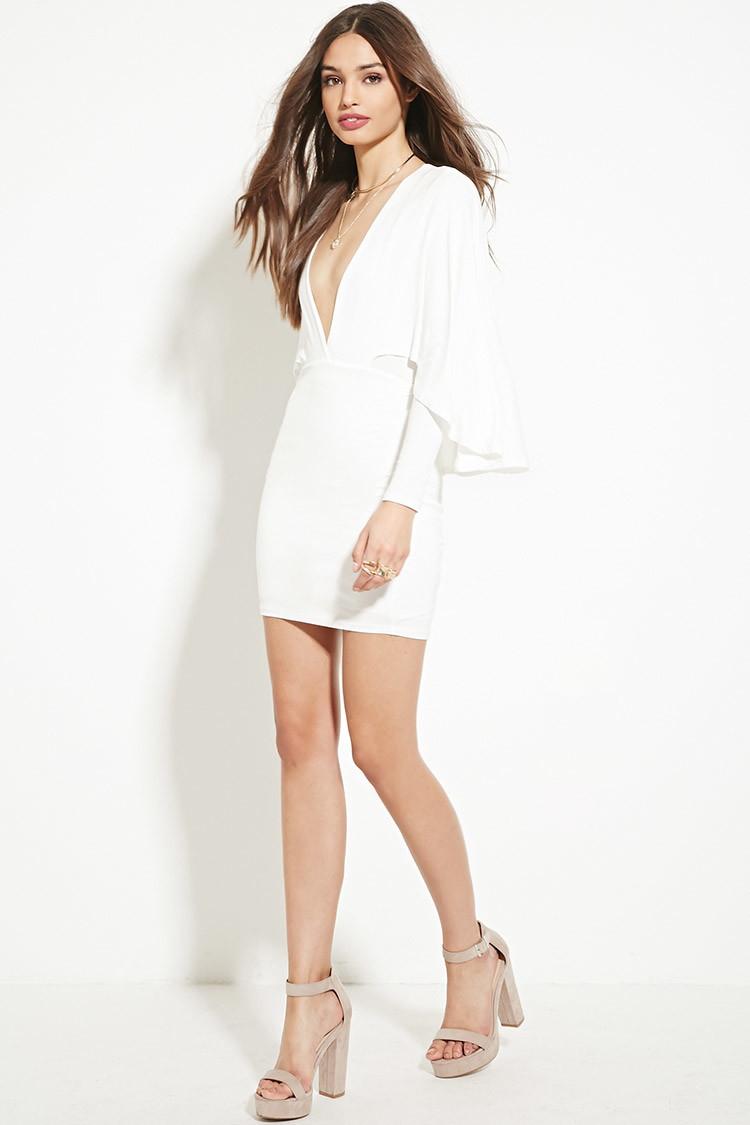 90e5b7c090af Forever 21 V-neck Cape Dress in White - Lyst