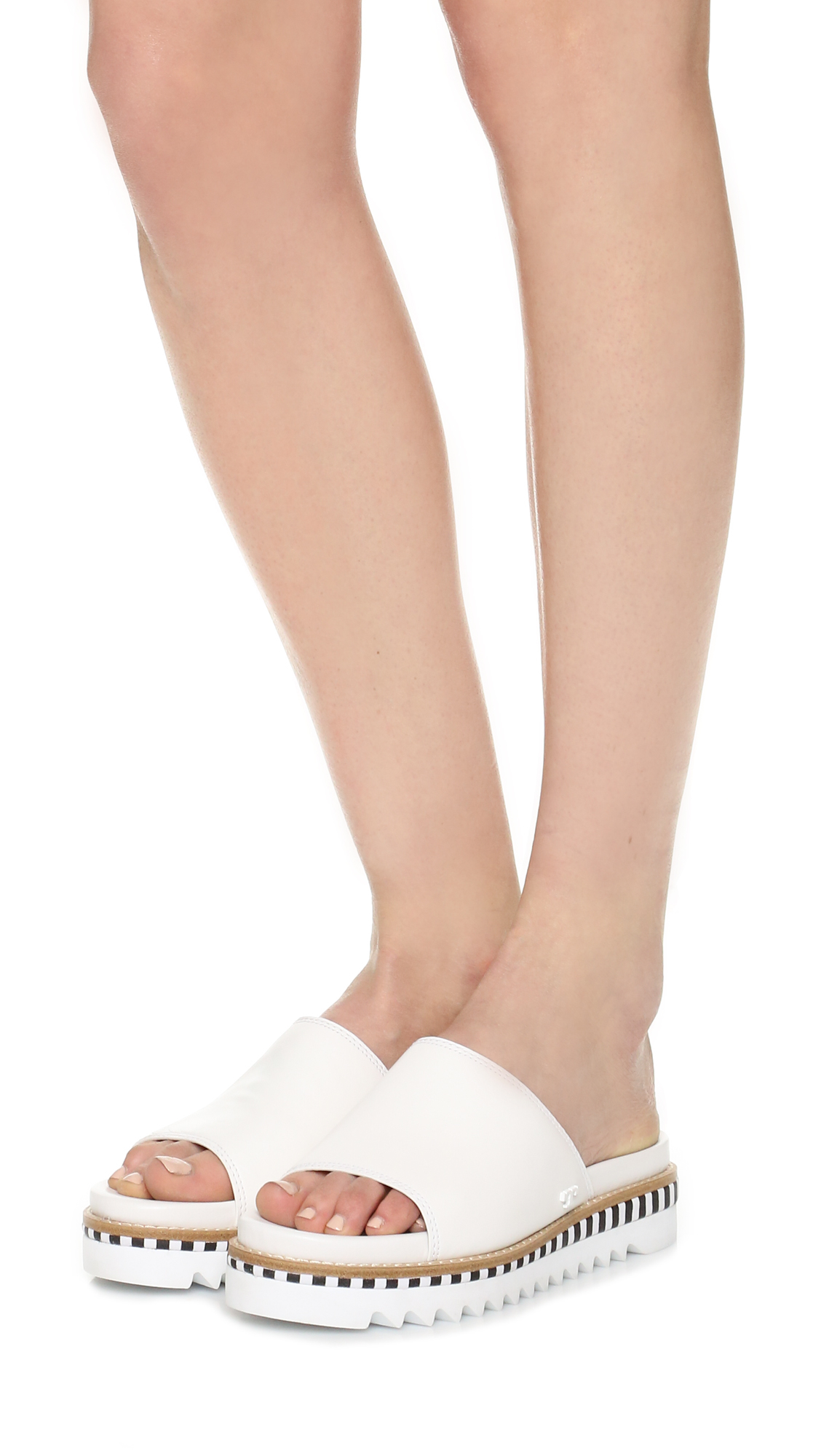 785f1d74346 Lyst - Tory Burch Sawtooth Slide Sandals in White
